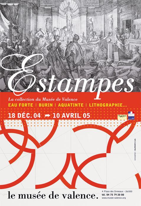 Affiche de l'exposition Estampes pour le Musée de Valence supernova grenoble packaging