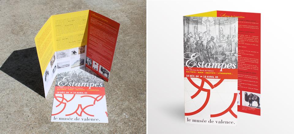 Dépliant de l'exposition Estampes pour le Musée de Valence