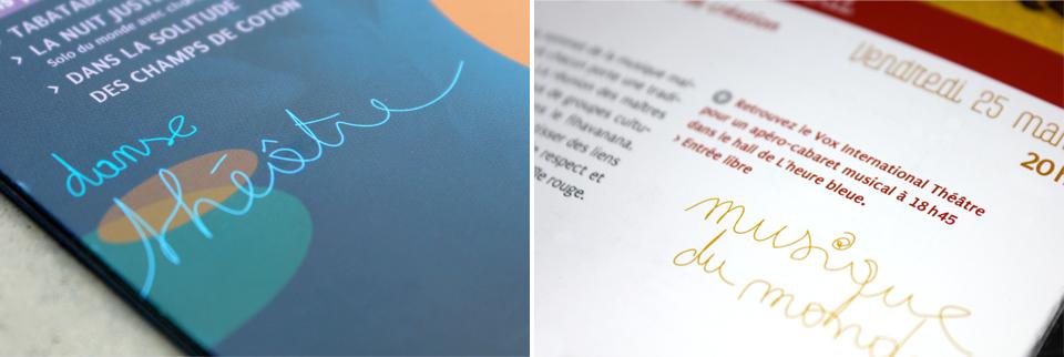 Details des dépliants pour la salle de spectacle l'Heure Bleue