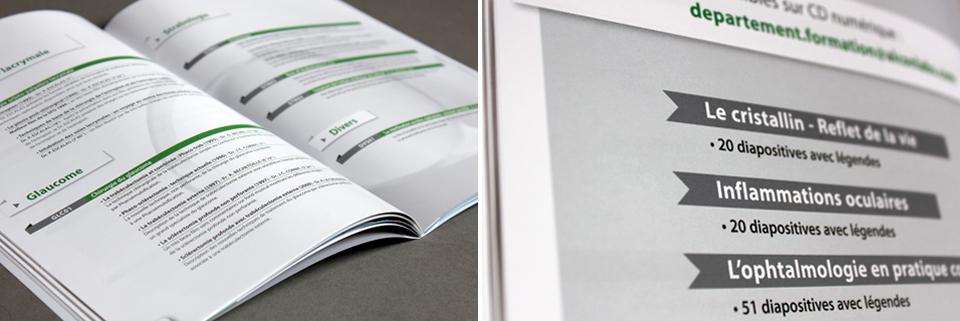 Détails des pages intérieures de la brochure Alcon-Novartis
